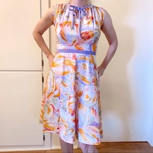 Vintage 1970s Abstract Floral Dress